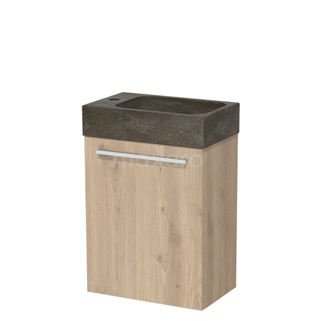 Toiletmeubel met Wastafel Natuursteen Modulo Lichtbruin Eiken 40 cm TMW10-00086