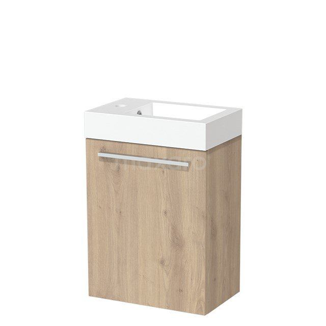 Toiletmeubel met Wastafel Mineraalmarmer Glanzend Modulo Lichtbruin Eiken 40 cm TMW10-00089