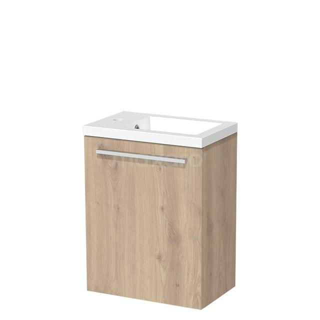 Toiletmeubel met Wastafel Mineraalmarmer Glanzend Modulo Lichtbruin Eiken 40 cm TMW10-00090