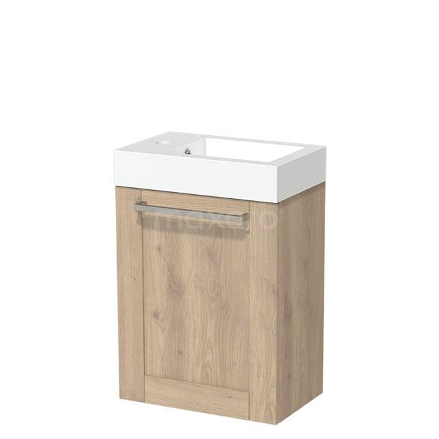 Toiletmeubel met Wastafel Mineraalmarmer Glanzend Modulo Lichtbruin Eiken 40 cm TMW10-00095
