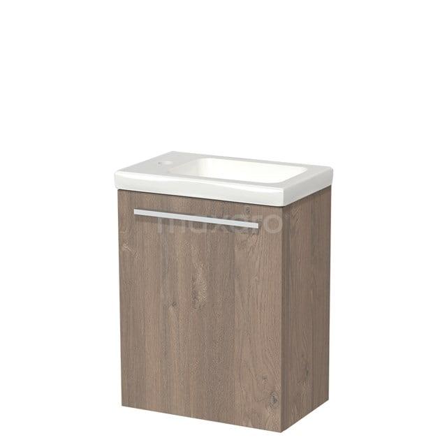 Toiletmeubel met Wastafel Keramiek Modulo Middenbruin Eiken 40 cm TMW10-00097