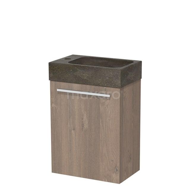 Toiletmeubel met Wastafel Natuursteen Modulo Middenbruin Eiken 40 cm TMW10-00098