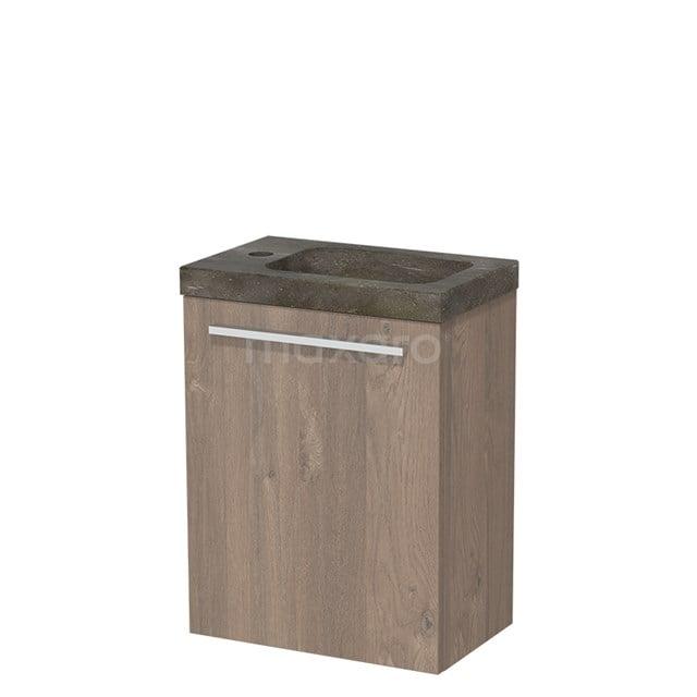 Toiletmeubel met Wastafel Natuursteen Modulo Middenbruin Eiken 40 cm TMW10-00099