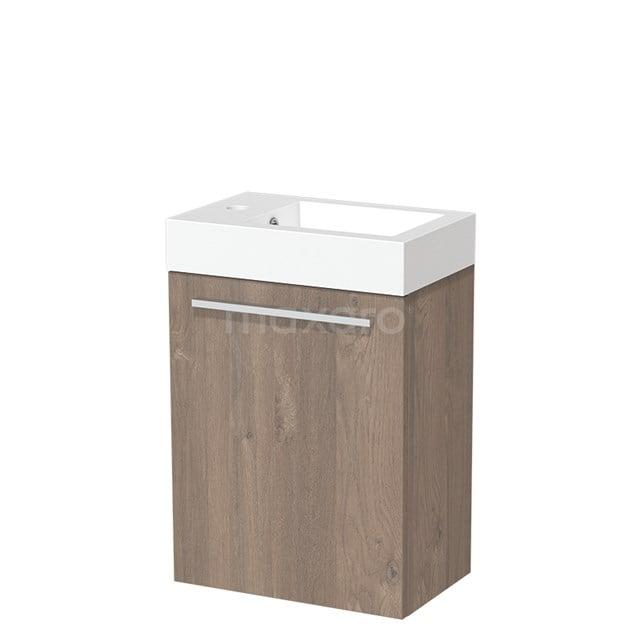 Toiletmeubel met Wastafel Mineraalmarmer Glanzend Modulo Middenbruin Eiken 40 cm TMW10-00101