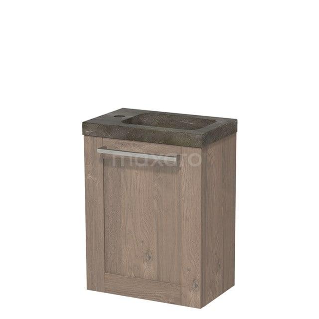 Toiletmeubel met Wastafel Natuursteen Modulo Middenbruin Eiken 40 cm TMW10-00105