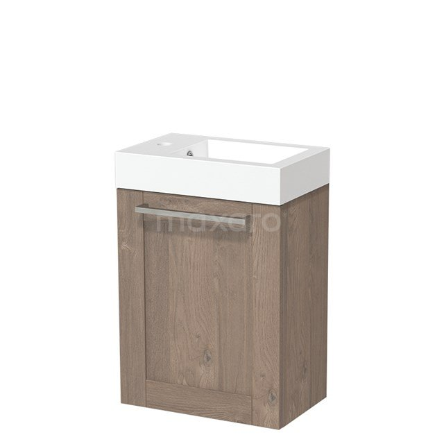 Toiletmeubel met Wastafel Mineraalmarmer Glanzend Modulo Middenbruin Eiken 40 cm TMW10-00107