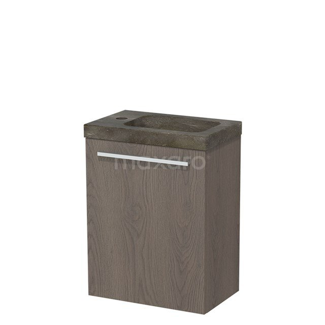 Toiletmeubel met Wastafel Natuursteen Modulo Donkerbruin Eiken 40 cm TMW10-00111