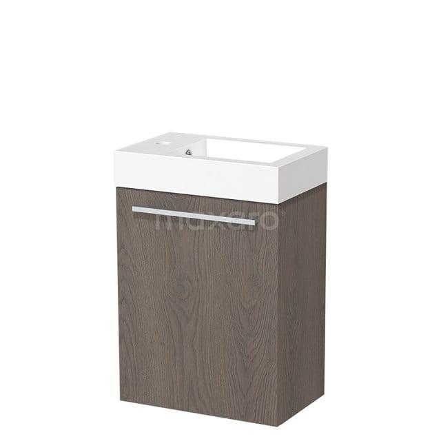 Toiletmeubel met Wastafel Mineraalmarmer Glanzend Modulo Donkerbruin Eiken 40 cm TMW10-00113