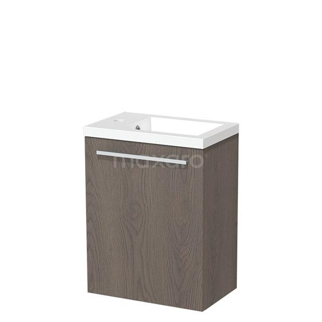 Toiletmeubel met Wastafel Mineraalmarmer Glanzend Modulo Donkerbruin Eiken 40 cm TMW10-00114