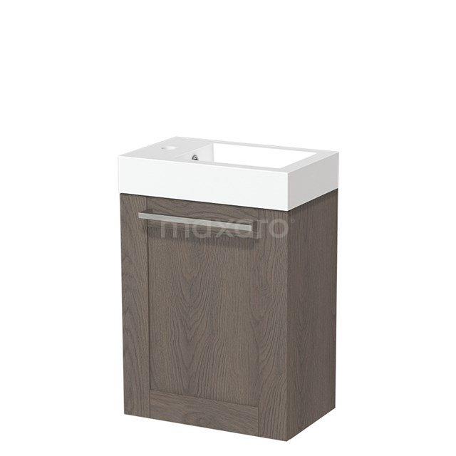 Toiletmeubel met Wastafel Mineraalmarmer Glanzend Modulo Donkerbruin Eiken 40 cm TMW10-00119