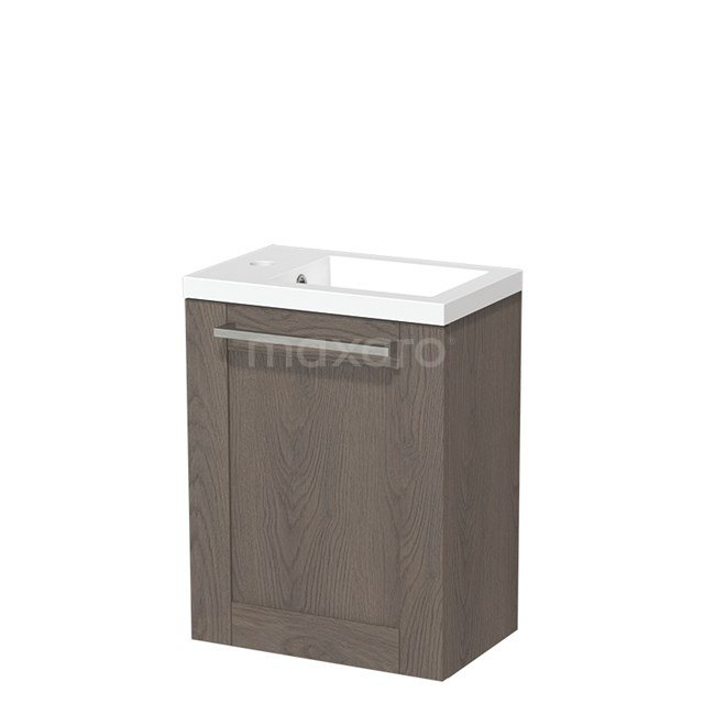 Toiletmeubel met Wastafel Mineraalmarmer Glanzend Modulo Donkerbruin Eiken 40 cm TMW10-00120