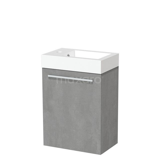 Toiletmeubel met Wastafel Mineraalmarmer Glanzend Modulo Lichtgrijs Beton 40 cm TMW10-00137