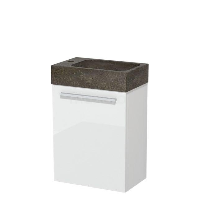 Toiletmeubel met Wastafel Natuursteen Modulo Hoogglans Wit 40 cm TMW10-00146