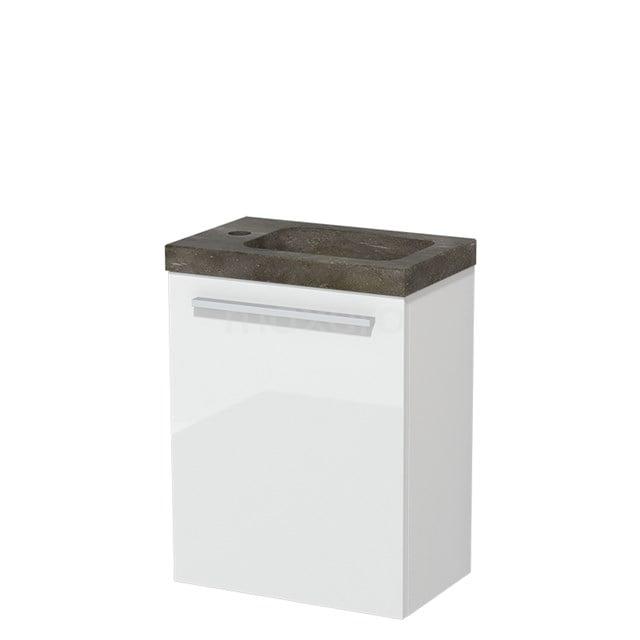 Toiletmeubel met Wastafel Natuursteen Modulo Hoogglans Wit 40 cm TMW10-00147