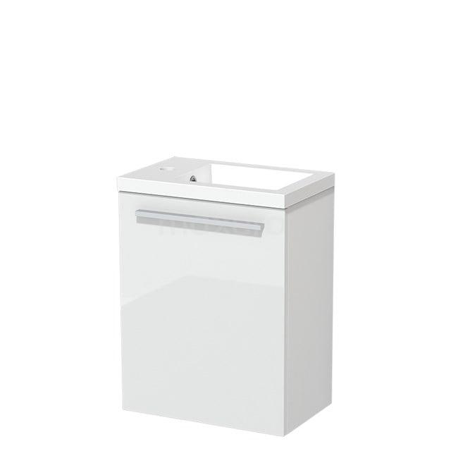 Toiletmeubel met Wastafel Mineraalmarmer Glanzend Modulo Hoogglans Wit 40 cm TMW10-00150