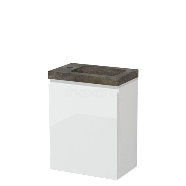 Toiletmeubel met Wastafel Natuursteen Modulo Hoogglans Wit 40 cm TMW10-00159