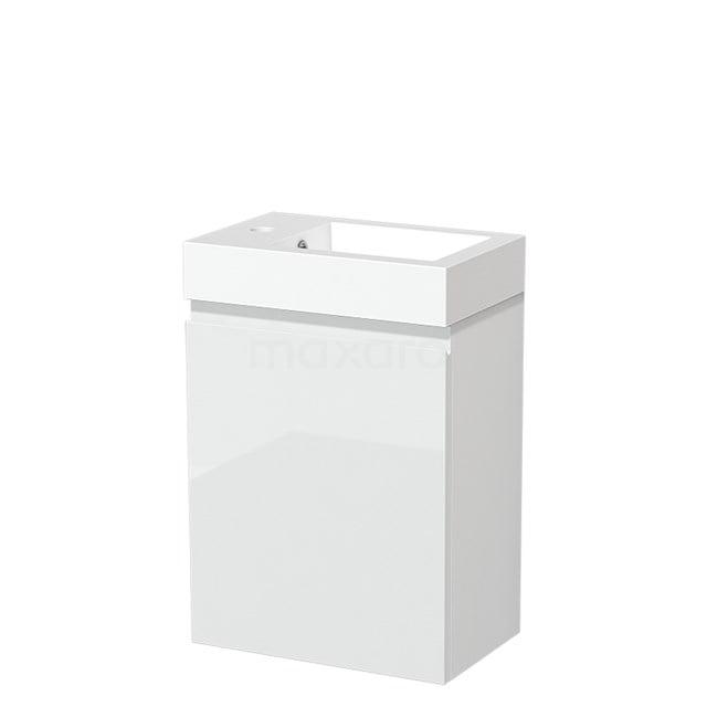 Toiletmeubel met Wastafel Mineraalmarmer Glanzend Modulo Hoogglans Wit 40 cm TMW10-00167