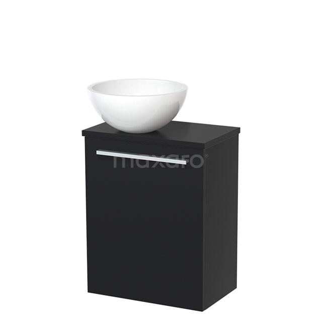Toiletmeubel met Waskom Mineraalmarmer Glanzend Modulo Mat Zwart 41 cm TMK10-00005