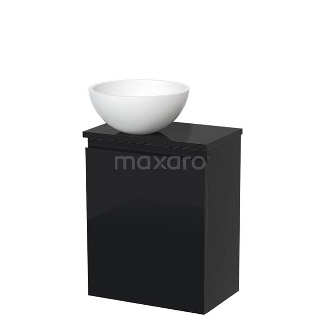 Toiletmeubel met Waskom Solid Surface Mat Modulo Hoogglans Zwart 41 cm TMK10-00076