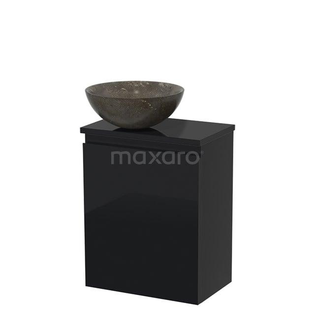 Toiletmeubel met Waskom Natuursteen Modulo Hoogglans Zwart 41 cm TMK10-00079