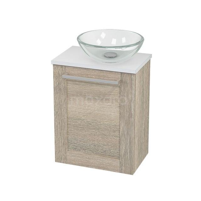 Toiletmeubel met Waskom Glas Modulo+ Pico Eiken 41cm BMC000855