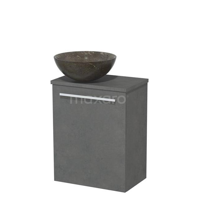 Toiletmeubel met Waskom Natuursteen Modulo Donkergrijs Beton 41 cm TMK10-00163