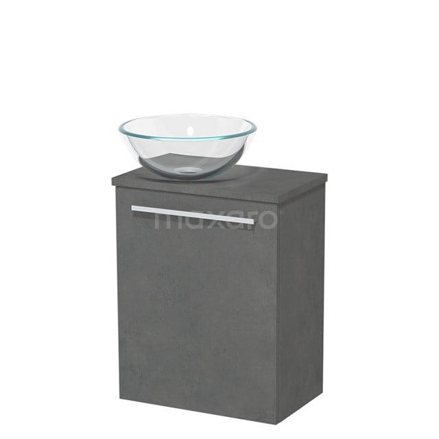 Toiletmeubel met Waskom Glas Modulo Donkergrijs Beton 41 cm TMK10-00164