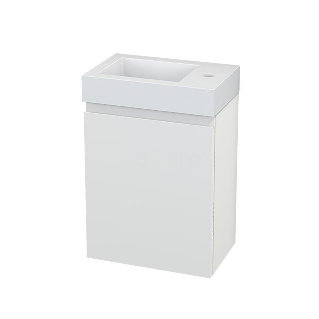 Toiletmeubel met Wastafel Mineraalmarmer Modulo+ Pico Mat Wit 40cm BMC001075