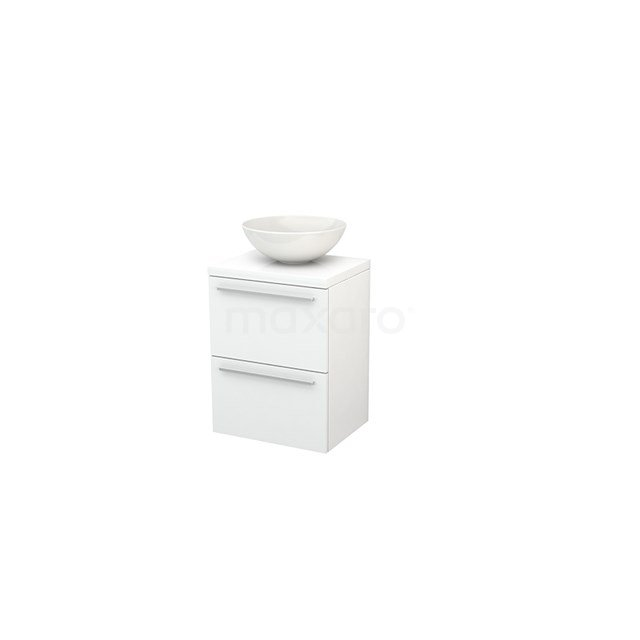Badkamermeubel voor Waskom 50cm Modulo+ Plato Slim Hoogglans Wit 2 Lades Vlak BMD000001