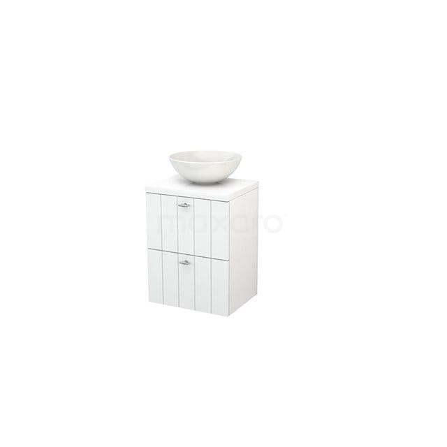 Badkamermeubel voor Waskom 50cm Modulo+ Plato Slim Hoogglans Wit 2 Lades Lamel BMD000006