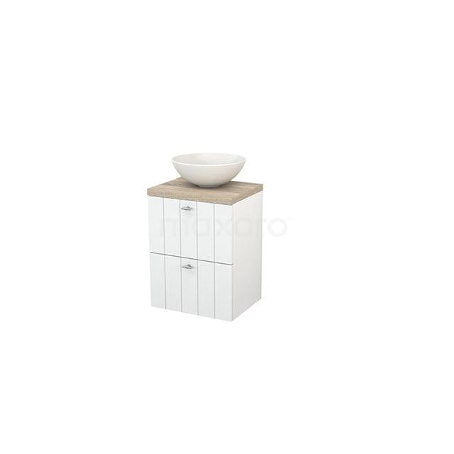 Badkamermeubel voor Waskom 50cm Hoogglans Wit Lamel Modulo+ Plato Slim Eiken Blad BMD000008