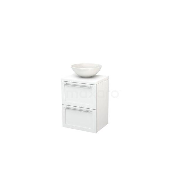 Badkamermeubel voor Waskom 50cm Modulo+ Plato Slim Hoogglans Wit 2 Lades Kader BMD000011