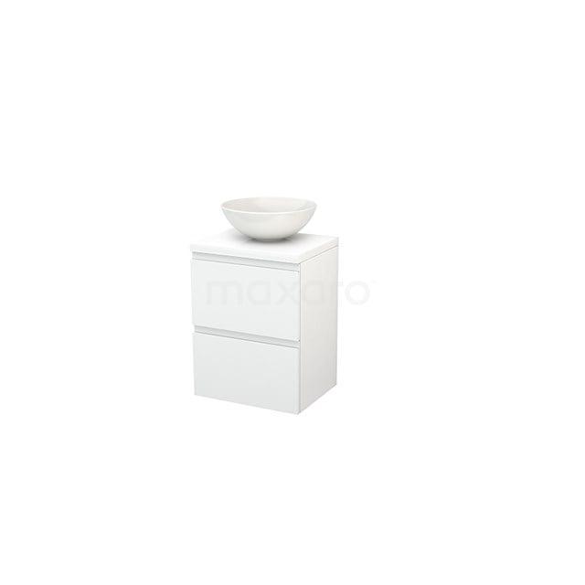 Badkamermeubel voor Waskom 50cm Modulo+ Plato Slim Hoogglans Wit 2 Lades Greeploos BMD000016