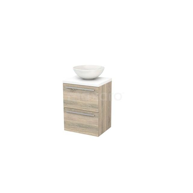 Badkamermeubel voor Waskom 50cm Eiken Vlak Modulo+ Plato Slim Hoogglans Wit Blad BMD000029