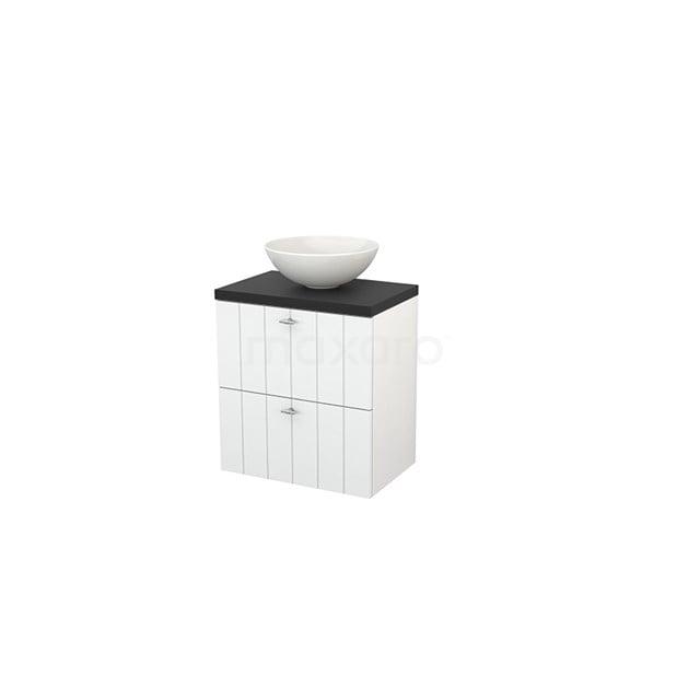 Badkamermeubel voor Waskom 60cm Hoogglans Wit Lamel Modulo+ Plato Slim Carbon Blad BMD000047