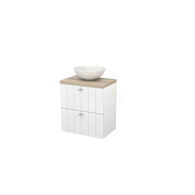 Badkamermeubel voor Waskom 60cm Hoogglans Wit Lamel Modulo+ Plato Slim Eiken Blad BMD000048