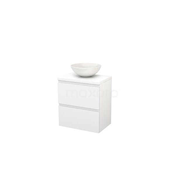 Badkamermeubel voor Waskom 60cm Modulo+ Plato Slim Hoogglans Wit 2 Lades Greeploos BMD000056
