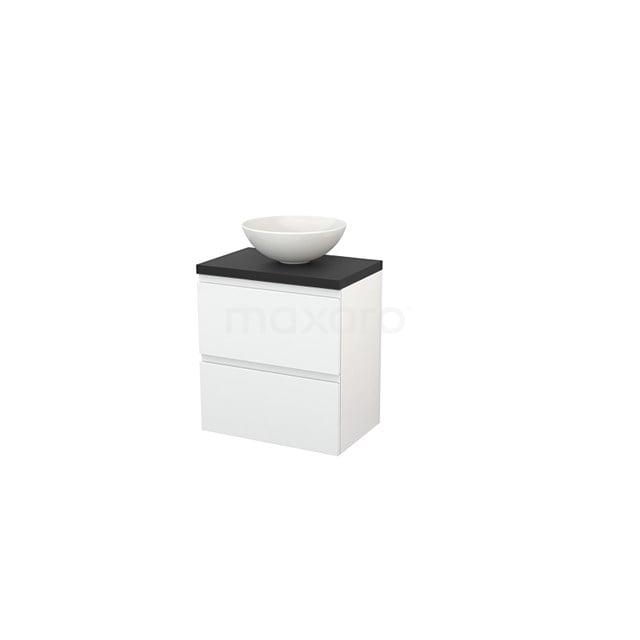 Badkamermeubel voor Waskom 60cm Hoogglans Wit Greeploos Modulo+ Plato Slim Carbon Blad BMD000057