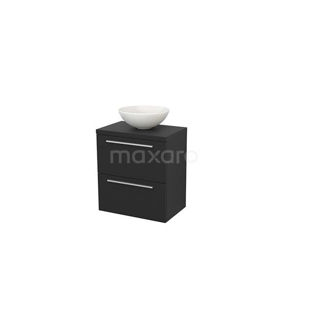 Badkamermeubel voor Waskom 60cm Modulo+ Plato Slim Carbon 2 Lades Vlak BMD000062
