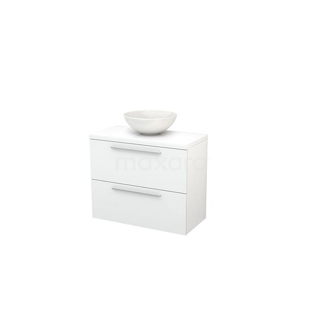 Badkamermeubel voor Waskom 80cm Modulo+ Plato Slim Hoogglans Wit 2 Lades Vlak BMD000081