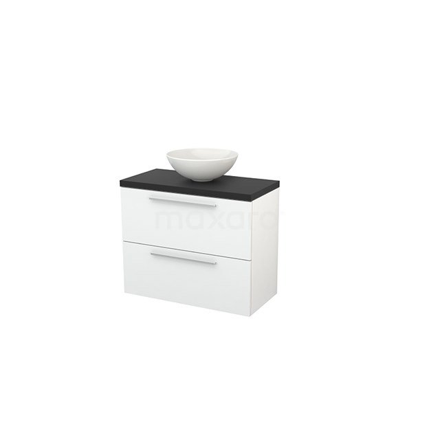 Badkamermeubel voor Waskom 80cm Hoogglans Wit Vlak Modulo+ Plato Slim Carbon Blad BMD000082