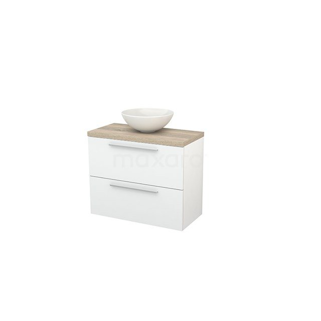 Badkamermeubel voor Waskom 80cm Hoogglans Wit Vlak Modulo+ Plato Slim Eiken Blad BMD000083
