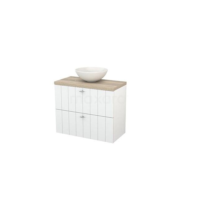Badkamermeubel voor Waskom 80cm Hoogglans Wit Lamel Modulo+ Plato Slim Eiken Blad BMD000088