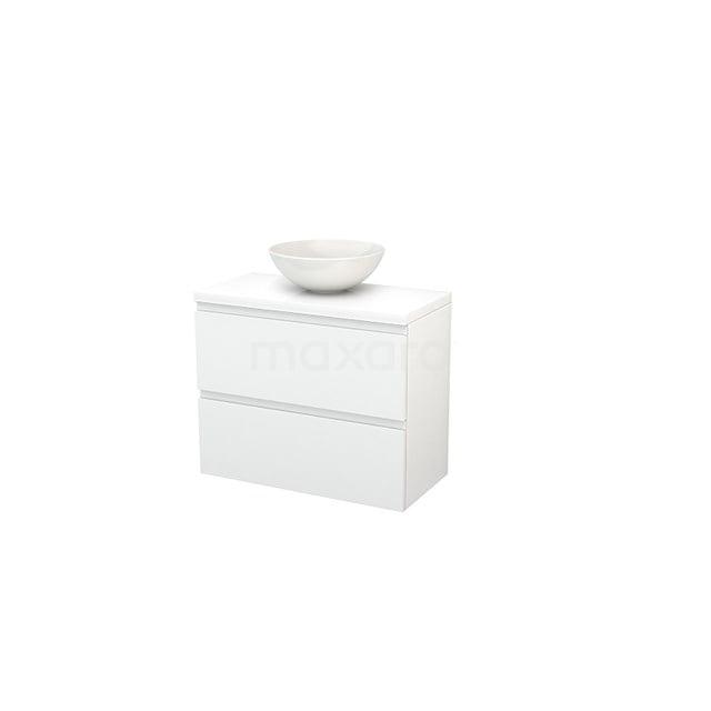 Badkamermeubel voor Waskom 80cm Modulo+ Plato Slim Hoogglans Wit 2 Lades Greeploos BMD000096