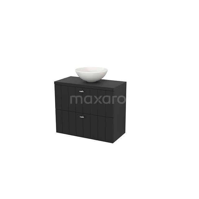 Badkamermeubel voor Waskom 80cm Modulo+ Plato Slim Carbon 2 Lades Lamel BMD000104