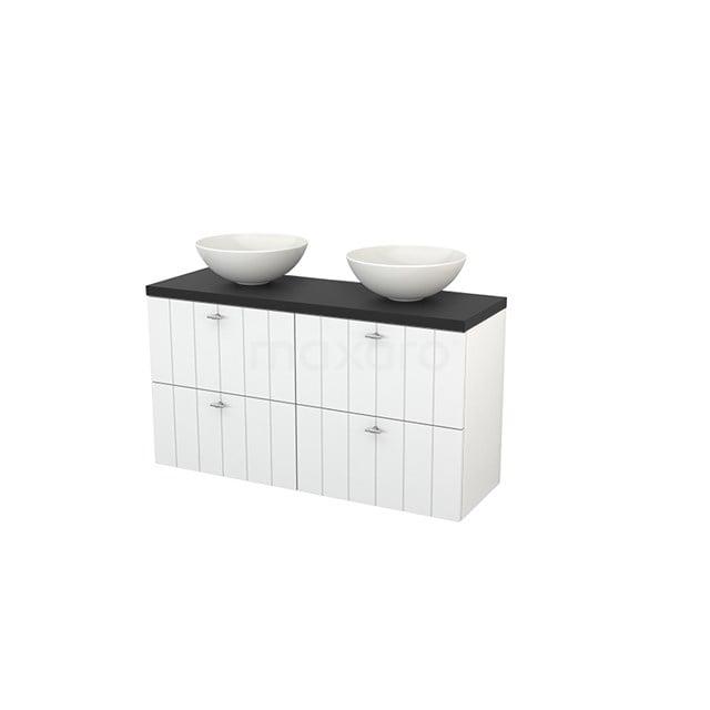 Badkamermeubel voor Waskom 120cm Hoogglans Wit Lamel Modulo+ Plato Slim Carbon Blad BMD000167