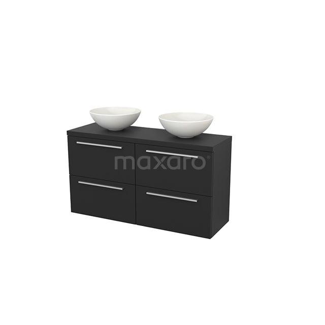 Badkamermeubel voor Waskom 120cm Modulo+ Plato Slim Carbon 4 Lades Vlak BMD000182