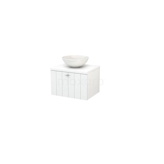 Badkamermeubel voor Waskom 60cm Modulo+ Plato Hoogglans Wit 1 Lade Lamel BMK001006