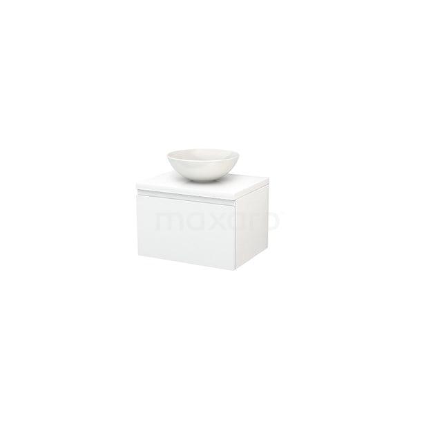 Badkamermeubel voor Waskom 60cm Modulo+ Plato Hoogglans Wit 1 Lade Greeploos BMK001018