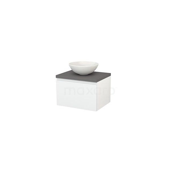 Badkamermeubel voor Waskom 60cm Hoogglans Wit Greeploos Modulo+ Plato Basalt Blad BMK001019